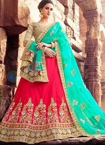 Transcendent Multi Color Silk Embroidered A-line Lehenga Choli - 2005
