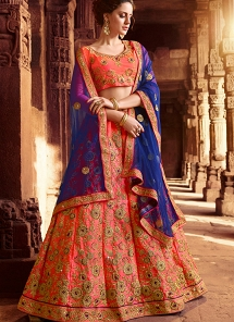 Pink & Peach Shade Silk Embroidered A-line Lehenga Choli - 2012