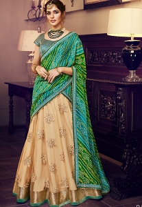 Beige & Green Net Silk Embroidered Lehenga Choli - 4160