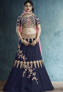 Navy Blue Silk Embroidered Lehenga Choli - 43