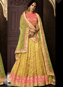 Pink & Yellow Shade Silk Net A-line Lehenga Choli - 5112
