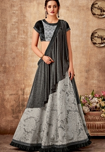 Grey & Black Jacquard Embroidered Lehenga Choli - 5728