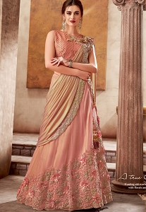 Peach Silk Embroidered Designer Lehenga Choli - 5734