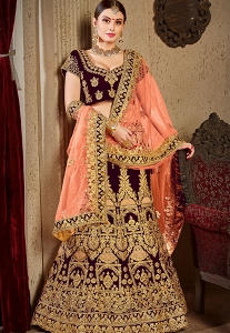 Wine Velvet Bridal Lehenga Choli - 8002