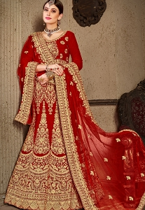 Red Velvet Bridal Lehenga Choli - 8003
