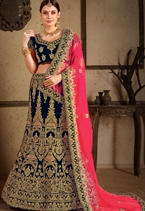 Navy Blue Velvet Bridal Lehenga Choli - 8006