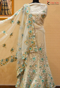Beige Net Embroidered A line Lehenga Choli - 9006