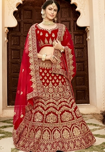 Maroon Soft Velvet Embroidery Work Lehenga Choli With Net Dupatta - 9006