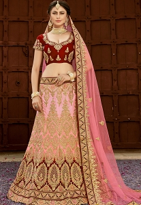 Maroon and Pink Pure Silk Embroidery Work Lehenga Choli With Net Dupatta - 9007