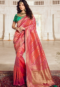 Pink & Green Art Silk Traditional Saree - 10029