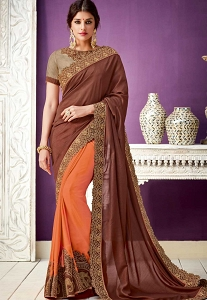 Brown Georgette Half N Half Saree - 10209