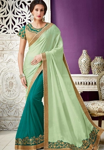 Green & Blue Georgette Half N Half Designer Saree - 10216