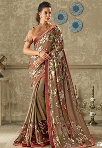 Brown Printed Lycra Saree with Art Silk Blouse - 10702