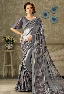 Grey Embroidered Lycra Saree with Raw Silk Blouse - 10704