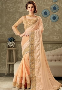 Peach Embroidered Lycra Saree with Net Blouse - 10711