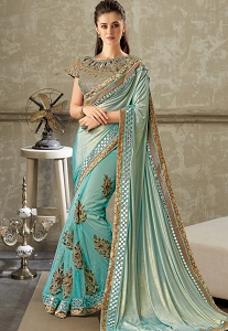 Sky Blue Embroidered Lycra Net Saree with Brocade Blouse - 10716