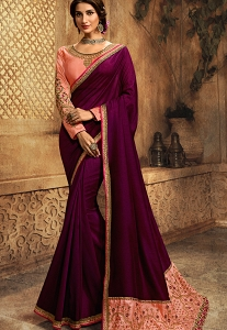 Wine & Pink Art Silk Embroidered Saree - 108