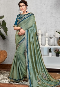Blue Weaved Silk Embroidered Party Wear Saree - 11412
