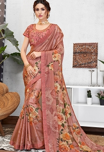 Traditional Pink Silk Georgette Printed Embroidered Saree - 11413