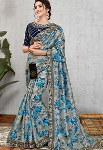 Occasional Blue Silk Printed Embroidered Saree - 11418