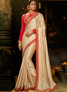 Incredible Cream Art Silk Embroidered Saree - 1142