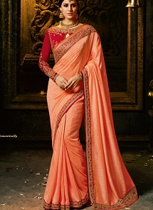 Titillating Peach Silk Heavy Embroidered Blouse Saree - 1156
