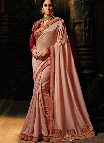 Dusty Light Brown Embroidered Silk Saree - 1162