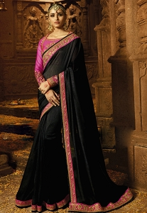 Black Silk Embroidered Party wear Saree - 1185