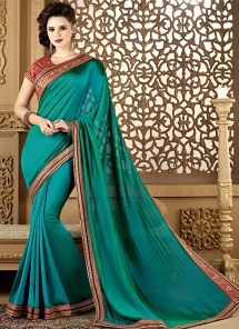 Turquoise Art Silk Embroidered Traditional Saree - 12002