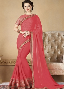 Rose Pink Embroidered Fancy Fabric Designer Saree - 12006