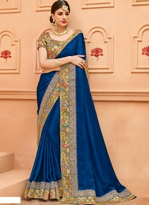 Navy Blue Crepe Silk Lace Border Saree - 13366