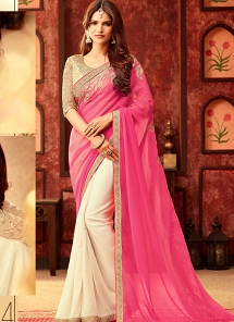 Distinctively Pink & Off White Georgette Party Wear Saree