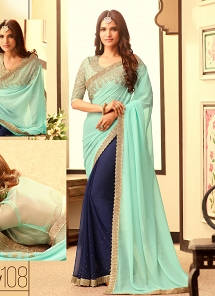 Desirable Aqua & Blue Georgette Party Wear Saree