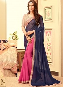 Sensible Blue & Pink Georgette Party Wear Designer Saree