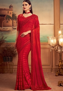 Red Silk Embroidered Party wear Saree - 15001