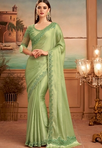 Green Silk Embroidered Party wear Saree - 15017