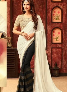 Deserving White & Black Georgette Designer Saree