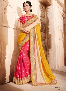 Delectable Pink & Yellow Embroidered Silk Saree