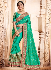 Majestic Sea Green Art Silk Embroidered Saree