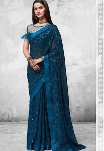 Blue Sequins Embroidered Party wear Saree - 2101