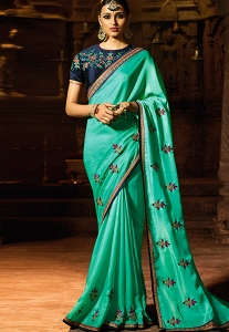 Blue Shade Satin Party wear Saree - 2121