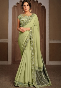 Lime Green Silk Georgette Embroidered Saree - 21303