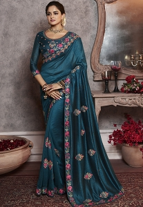 Dark Blue Art Silk Embroidered Party Wear Saree - 2166