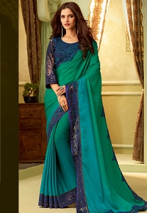 Green & Blue Silk Resham Embroidered Designer Saree - 23006