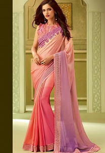 Pink & Mauve Silk Resham Embroidered Saree - 23008