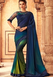 Blue & Green Art Silk Bordered Saree - 24008