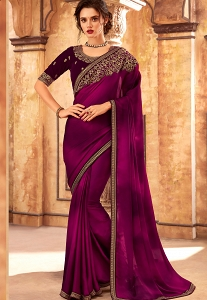 Purple Art Silk Embroidered Party Wear Saree - 24009