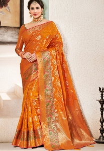 Orange Art Silk Traditional Saree - 2607