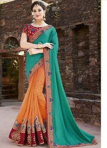 Multi Color Fancy Fabric Designer Half N Half Saree - 30015