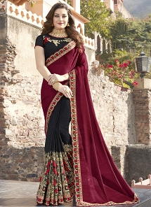 Magenta & Black Fancy Fabric Embroidered Half N Half Saree - 30026